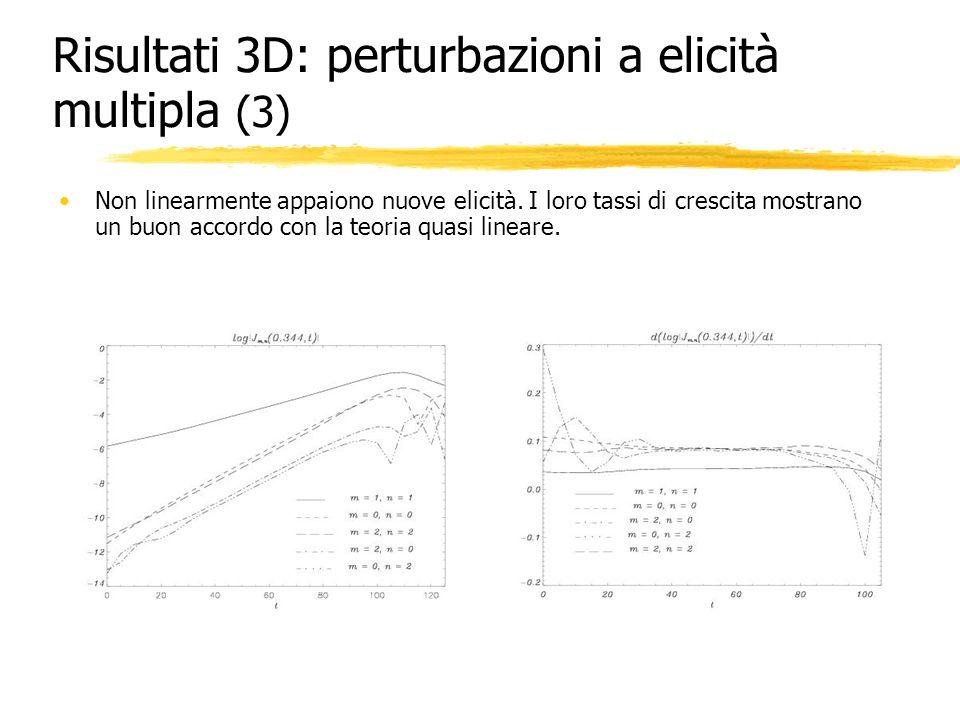 Risultati 3D: perturbazioni a elicità multipla (3) Non linearmente appaiono nuove elicità. I loro tassi di crescita mostrano un buon accordo con la te