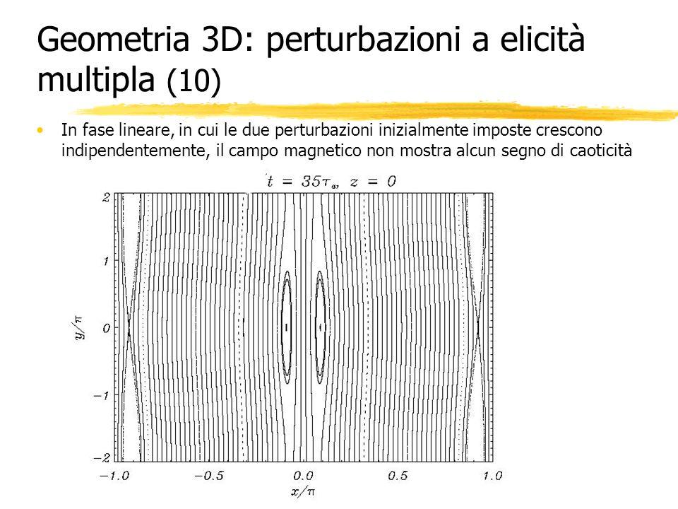 Geometria 3D: perturbazioni a elicità multipla (10) In fase lineare, in cui le due perturbazioni inizialmente imposte crescono indipendentemente, il c