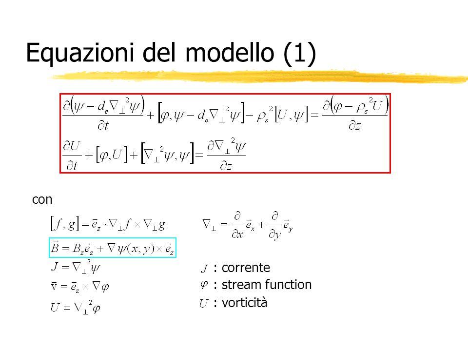 Equazioni del modello (1) con : corrente : stream function : vorticità