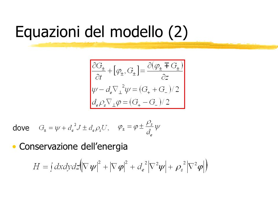 Equazioni del modello (2) dove Conservazione dellenergia