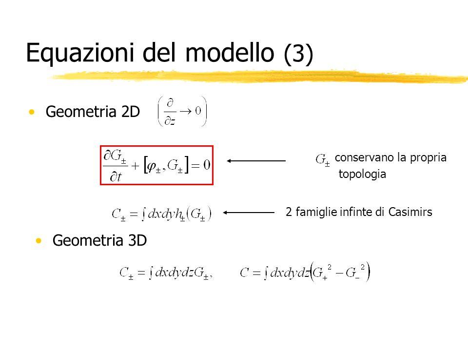 Equazioni del modello (3) Geometria 2D conservano la propria topologia 2 famiglie infinte di Casimirs Geometria 3D