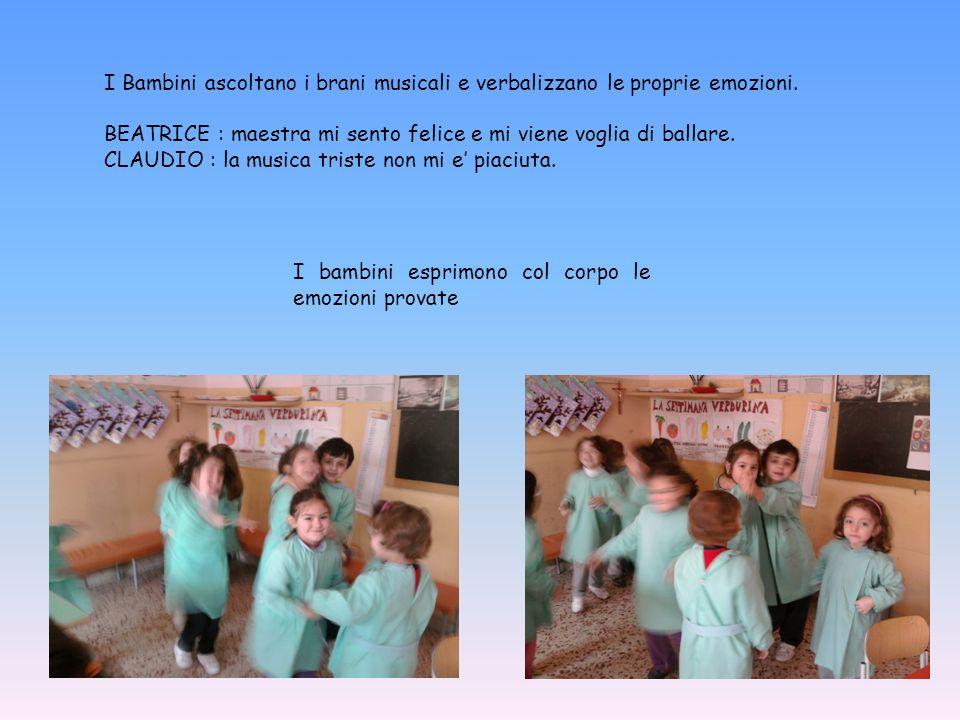 I bambini esprimono col corpo le emozioni provate I Bambini ascoltano i brani musicali e verbalizzano le proprie emozioni. BEATRICE : maestra mi sento