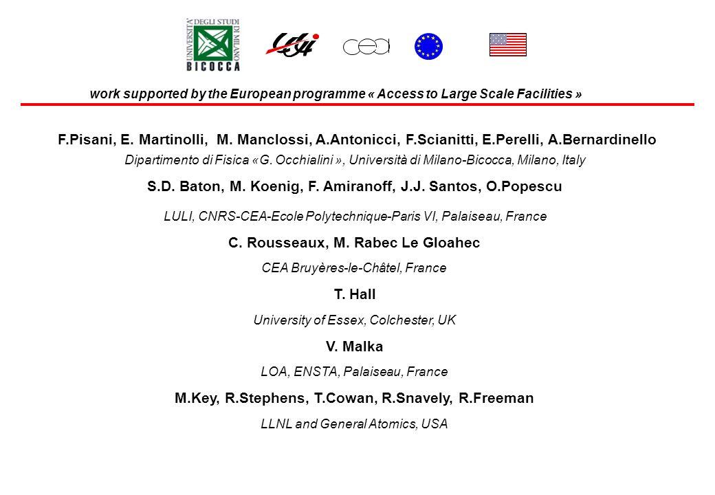F.Pisani, E. Martinolli, M. Manclossi, A.Antonicci, F.Scianitti, E.Perelli, A.Bernardinello T. Hall C. Rousseaux, M. Rabec Le Gloahec S.D. Baton, M. K