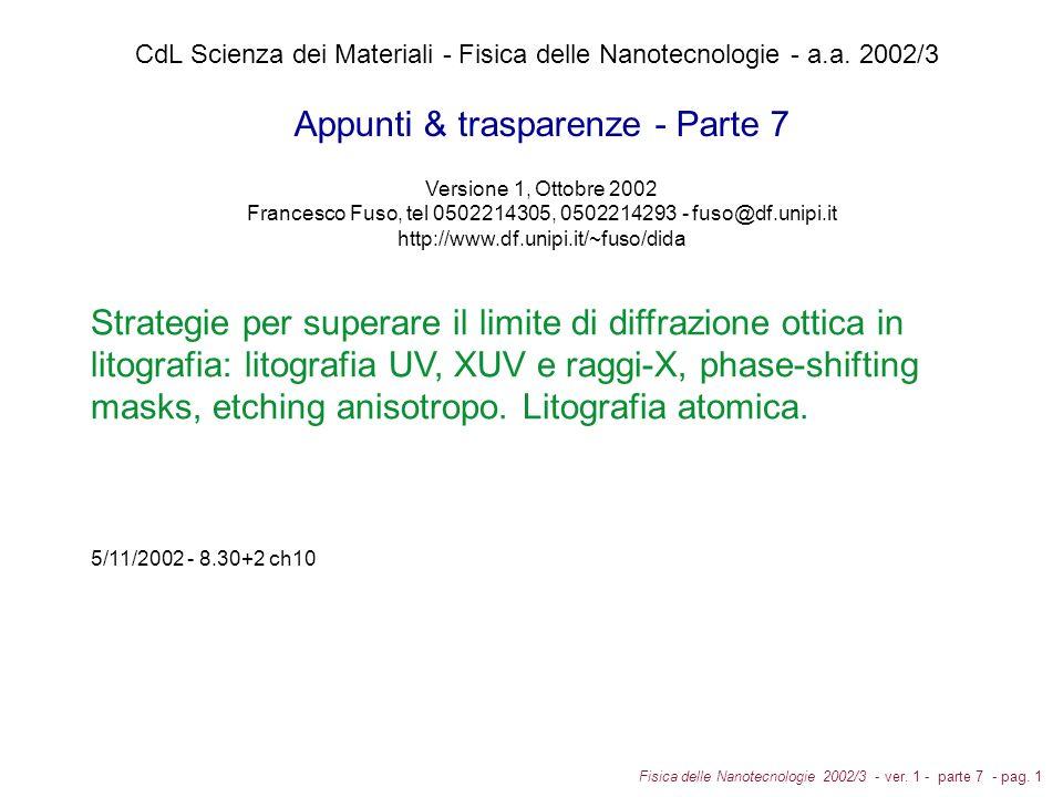 Fisica delle Nanotecnologie 2002/3 - ver.1 - parte 7 - pag.