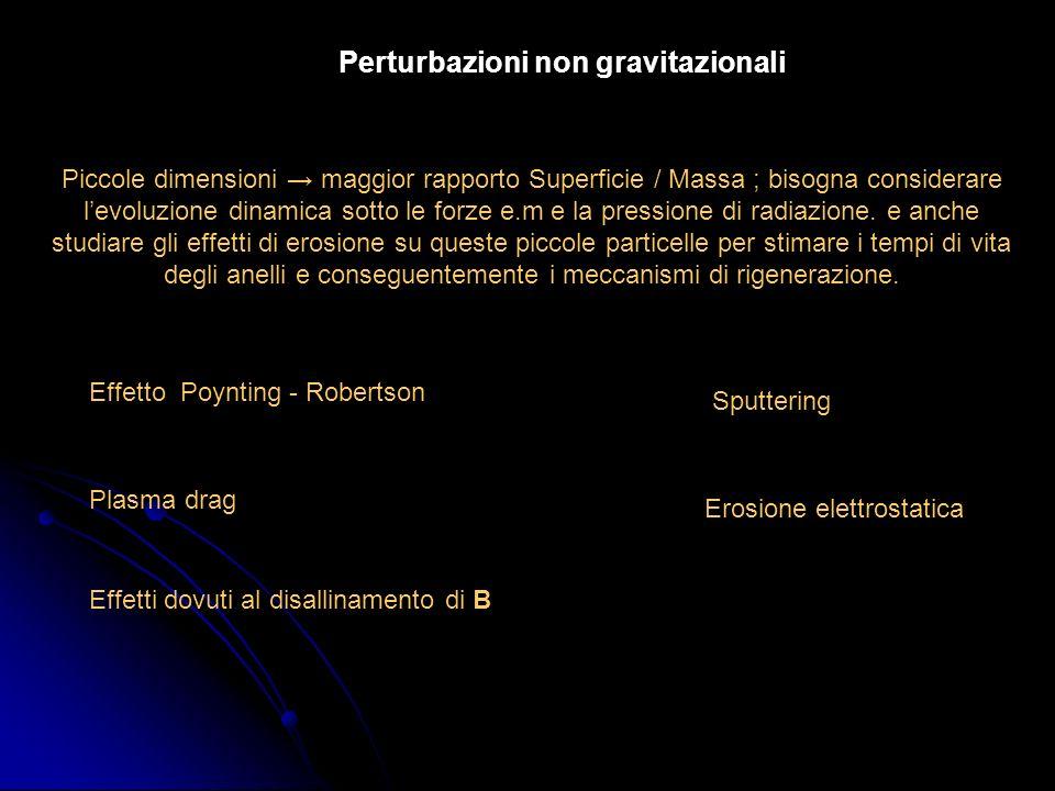 Perturbazioni non gravitazionali Piccole dimensioni maggior rapporto Superficie / Massa ; bisogna considerare levoluzione dinamica sotto le forze e.m