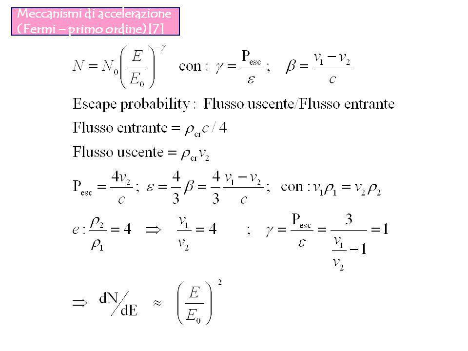 Meccanismi di accelerazione (Fermi – primo ordine)[7]