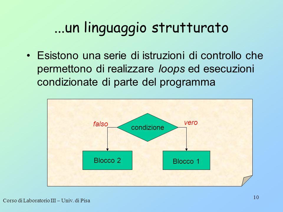 Corso di Laboratorio III – Univ. di Pisa 10...un linguaggio strutturato Esistono una serie di istruzioni di controllo che permettono di realizzare loo