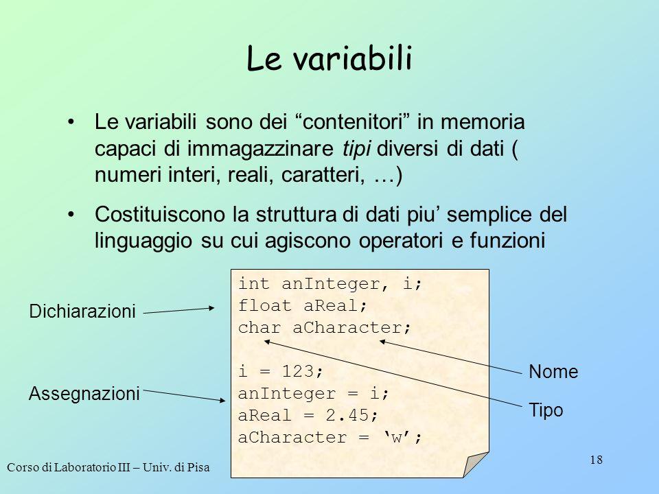 Corso di Laboratorio III – Univ. di Pisa 18 Le variabili Le variabili sono dei contenitori in memoria capaci di immagazzinare tipi diversi di dati ( n