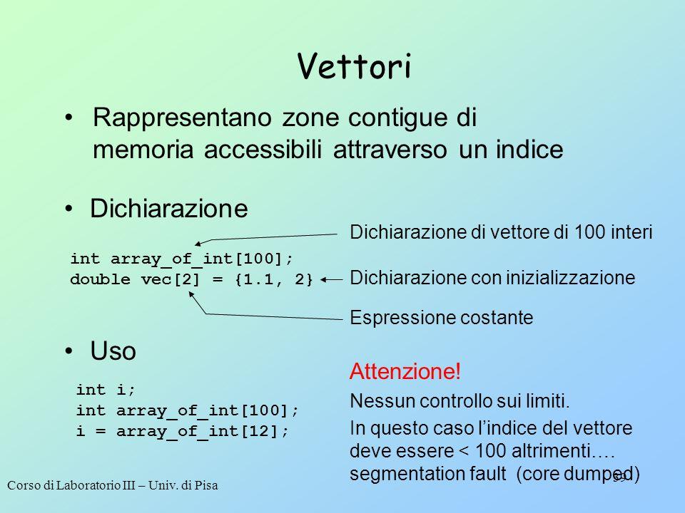 Corso di Laboratorio III – Univ. di Pisa 39 Vettori Dichiarazione int array_of_int[100]; double vec[2] = {1.1, 2} Dichiarazione di vettore di 100 inte