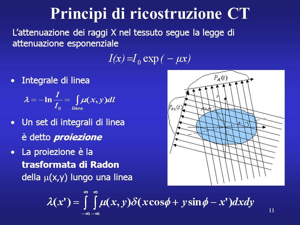 11 Principi di ricostruzione CT Integrale di linea Un set di integrali di linea è detto proiezione La proiezione è la trasformata di Radon della (x,y) lungo una linea Lattenuazione dei raggi X nel tessuto segue la legge di attenuazione esponenziale