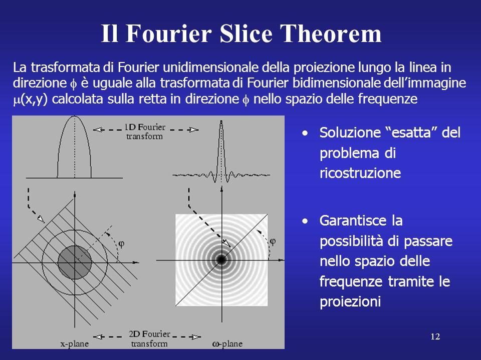 12 Il Fourier Slice Theorem La trasformata di Fourier unidimensionale della proiezione lungo la linea in direzione è uguale alla trasformata di Fourier bidimensionale dellimmagine (x,y) calcolata sulla retta in direzione nello spazio delle frequenze Soluzione esatta del problema di ricostruzione Garantisce la possibilità di passare nello spazio delle frequenze tramite le proiezioni