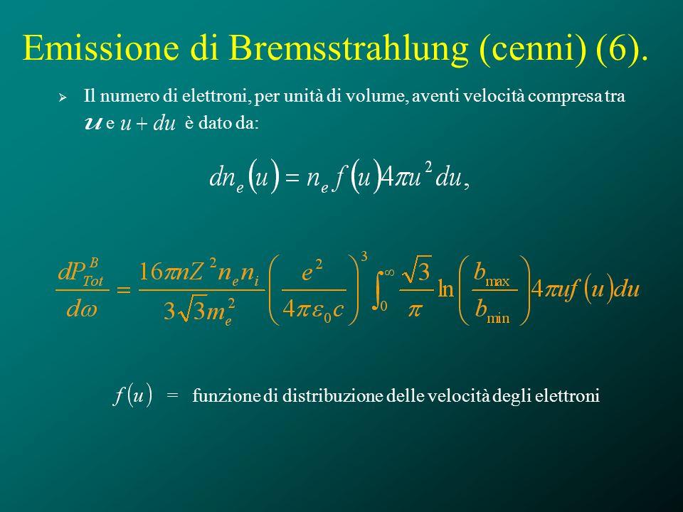 Emissione di Bremsstrahlung (cenni) (6). Il numero di elettroni, per unità di volume, aventi velocità compresa tra e è dato da: = funzione di distribu