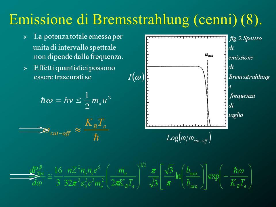 Emissione di Bremsstrahlung (cenni) (8). La potenza totale emessa per unita di intervallo spettrale non dipende dalla frequenza. Effetti quantistici p