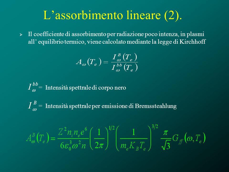Lassorbimento lineare (2). Il coefficiente di assorbimento per radiazione poco intenza, in plasmi all equilibrio termico, viene calcolato mediante la