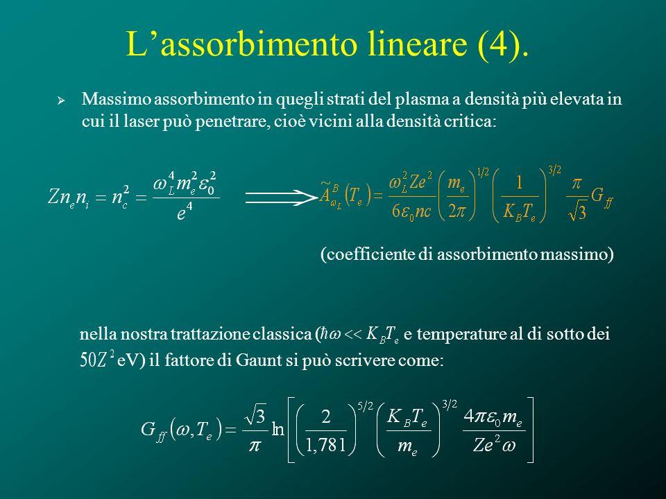 Lassorbimento lineare (4). Massimo assorbimento in quegli strati del plasma a densità più elevata in cui il laser può penetrare, cioè vicini alla dens
