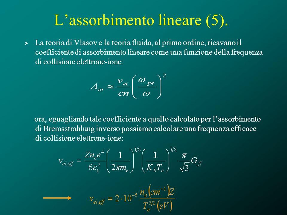 Lassorbimento lineare (5). La teoria di Vlasov e la teoria fluida, al primo ordine, ricavano il coefficiente di assorbimento lineare come una funzione