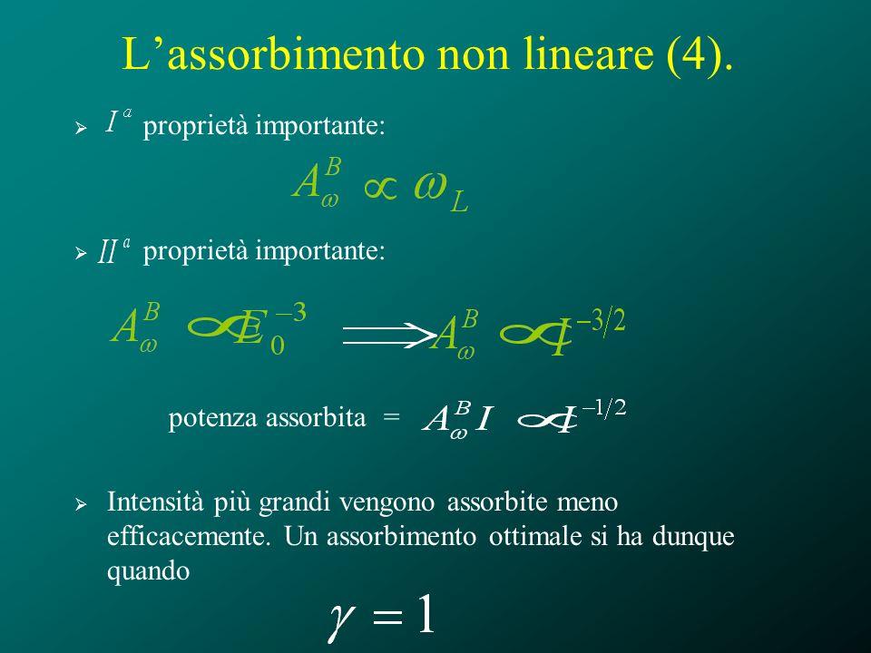 Lassorbimento non lineare (4). proprietà importante: potenza assorbita = Intensità più grandi vengono assorbite meno efficacemente. Un assorbimento ot