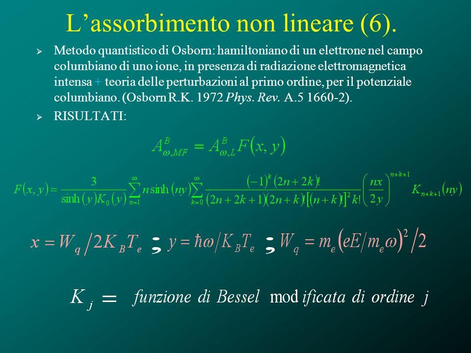 Lassorbimento non lineare (6). Metodo quantistico di Osborn: hamiltoniano di un elettrone nel campo columbiano di uno ione, in presenza di radiazione