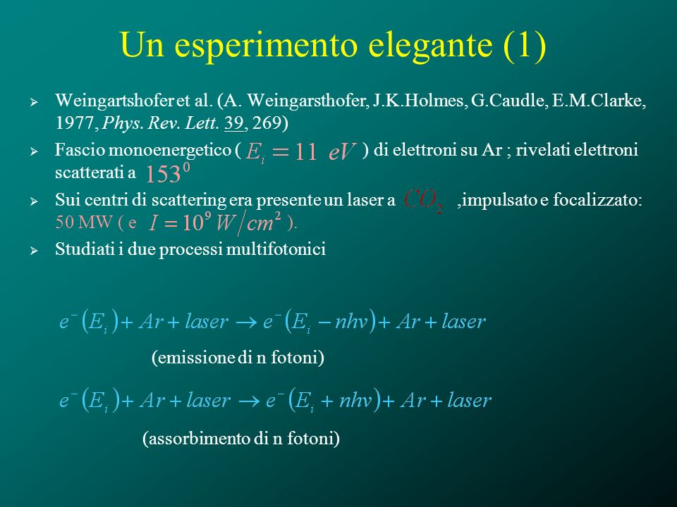 Un esperimento elegante (1) Weingartshofer et al. (A. Weingarsthofer, J.K.Holmes, G.Caudle, E.M.Clarke, 1977, Phys. Rev. Lett. 39, 269) Fascio monoene