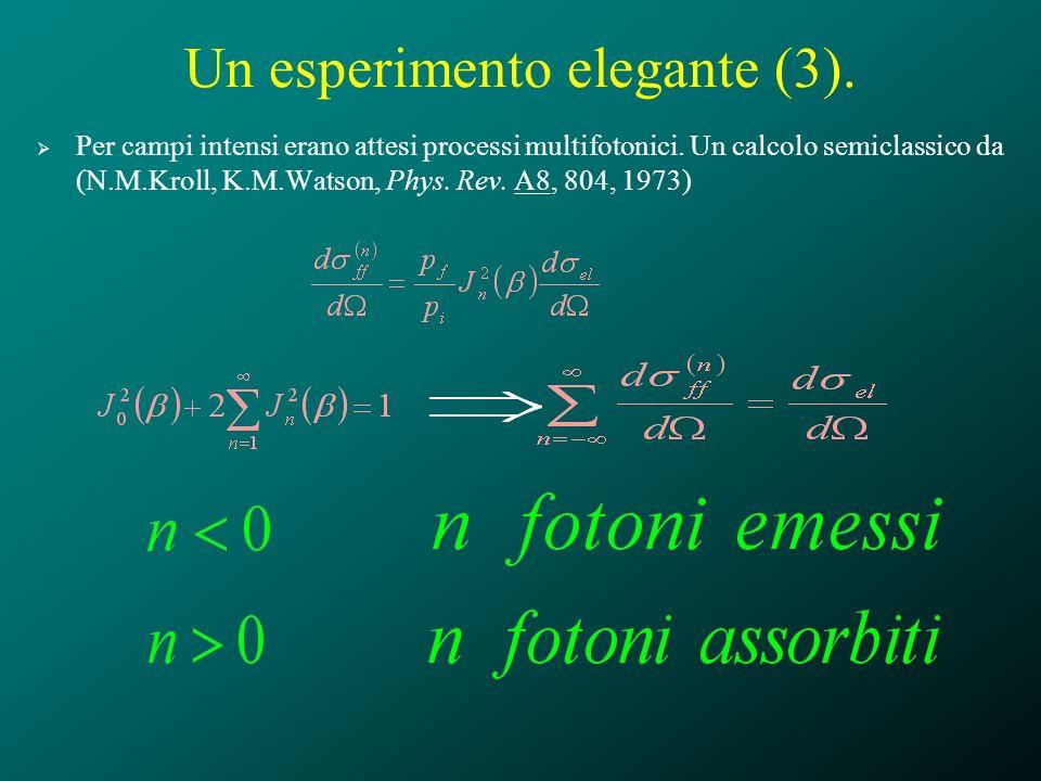 Un esperimento elegante (3). Per campi intensi erano attesi processi multifotonici. Un calcolo semiclassico da (N.M.Kroll, K.M.Watson, Phys. Rev. A8,