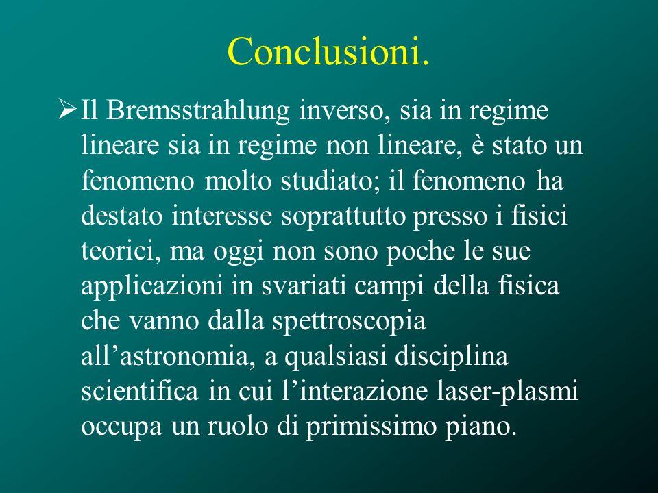 Conclusioni. Il Bremsstrahlung inverso, sia in regime lineare sia in regime non lineare, è stato un fenomeno molto studiato; il fenomeno ha destato in