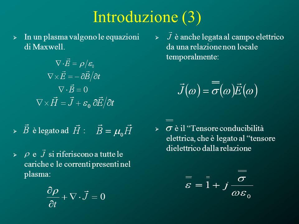 Introduzione (3) In un plasma valgono le equazioni di Maxwell. è legato ad : e si riferiscono a tutte le cariche e le correnti presenti nel plasma: è