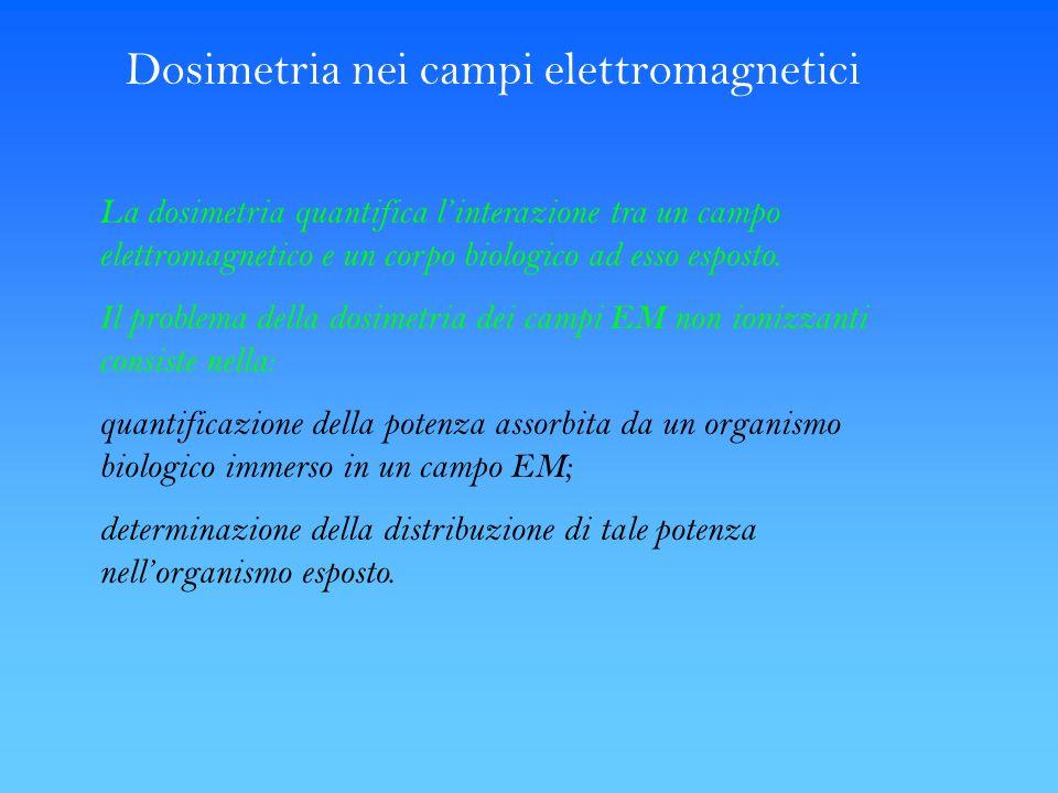Dosimetria nei campi elettromagnetici La dosimetria quantifica linterazione tra un campo elettromagnetico e un corpo biologico ad esso esposto. Il pro