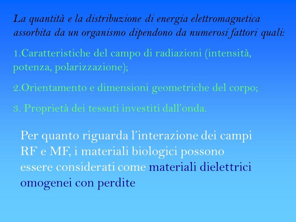 La quantità e la distribuzione di energia elettromagnetica assorbita da un organismo dipendono da numerosi fattori quali: 1.Caratteristiche del campo