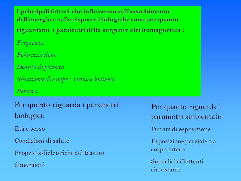 I principali fattori che influiscono sullassorbimento dellenergia e sulle risposte biologiche sono per quanto riguardano i parametri della sorgente el