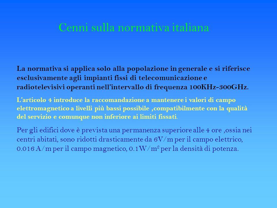 Cenni sulla normativa italiana La normativa si applica solo alla popolazione in generale e si riferisce esclusivamente agli impianti fissi di telecomu