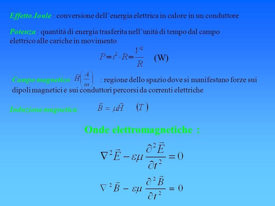 Potenza : quantità di energia trasferita nellunità di tempo dal campo elettrico alle cariche in movimento (W) Effetto Joule : conversione dellenergia