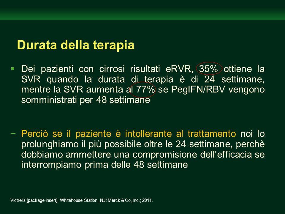 Durata della terapia Dei pazienti con cirrosi risultati eRVR, 35% ottiene la SVR quando la durata di terapia è di 24 settimane, mentre la SVR aumenta
