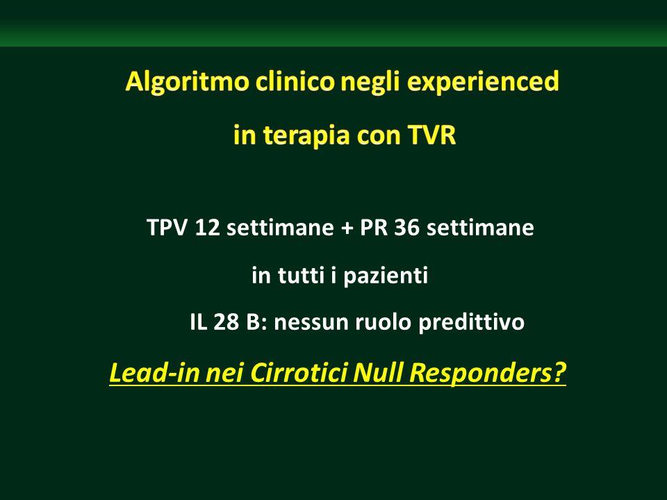 TPV 12 settimane + PR 36 settimane in tutti i pazienti IL 28 B: nessun ruolo predittivo Lead-in nei Cirrotici Null Responders?