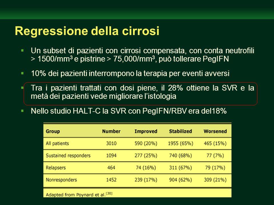 Regressione della cirrosi Un subset di pazienti con cirrosi compensata, con conta neutrofili > 1500/mm 3 e pistrine > 75,000/mm 3, può tollerare PegIF