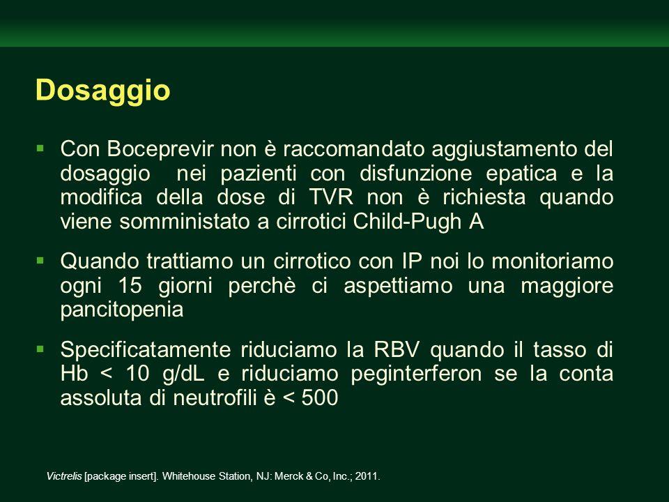 Dosaggio Con Boceprevir non è raccomandato aggiustamento del dosaggio nei pazienti con disfunzione epatica e la modifica della dose di TVR non è richi