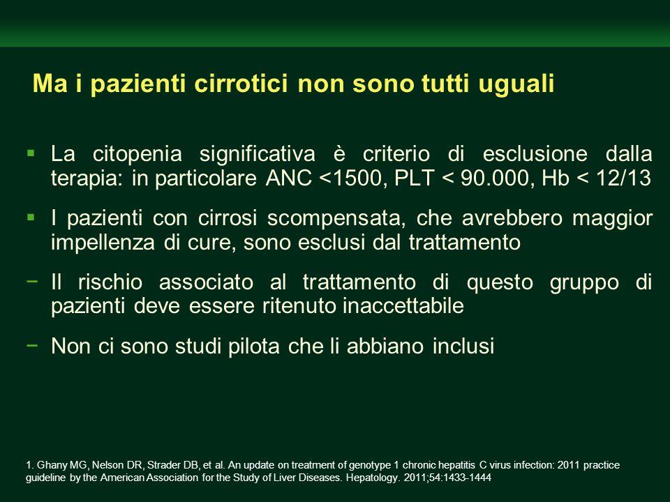 Ma i pazienti cirrotici non sono tutti uguali La citopenia significativa è criterio di esclusione dalla terapia: in particolare ANC <1500, PLT < 90.00
