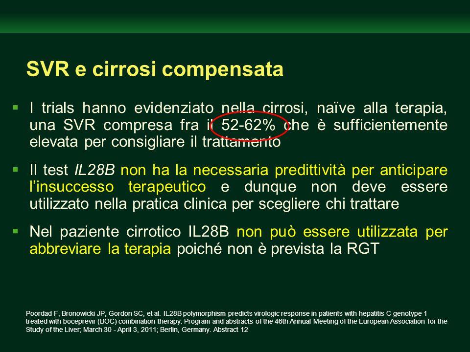 SVR e cirrosi compensata I trials hanno evidenziato nella cirrosi, naïve alla terapia, una SVR compresa fra il 52-62% che è sufficientemente elevata p