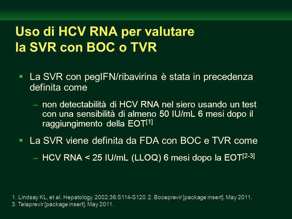 Uso di HCV RNA per valutare la SVR con BOC o TVR La SVR con pegIFN/ribavirina è stata in precedenza definita come –non detectabilità di HCV RNA nel siero usando un test con una sensibilità di almeno 50 IU/mL 6 mesi dopo il raggiungimento della EOT [1] La SVR viene definita da FDA con BOC e TVR come –HCV RNA < 25 IU/mL (LLOQ) 6 mesi dopo la EOT [2-3] 1.