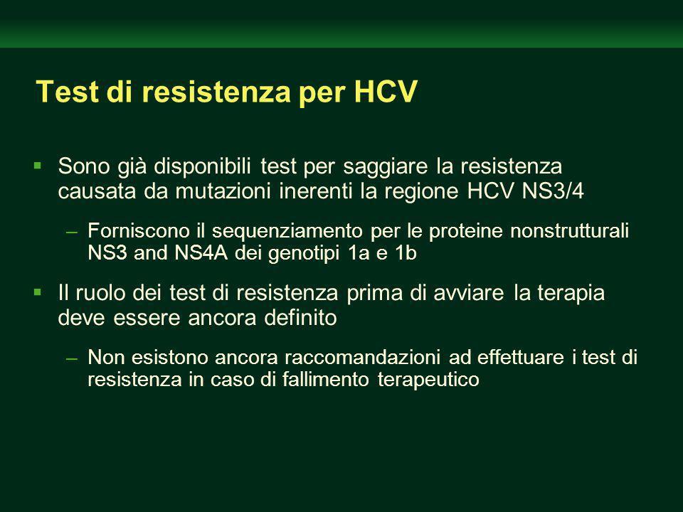 Test di resistenza per HCV Sono già disponibili test per saggiare la resistenza causata da mutazioni inerenti la regione HCV NS3/4 –Forniscono il sequenziamento per le proteine nonstrutturali NS3 and NS4A dei genotipi 1a e 1b Il ruolo dei test di resistenza prima di avviare la terapia deve essere ancora definito –Non esistono ancora raccomandazioni ad effettuare i test di resistenza in caso di fallimento terapeutico