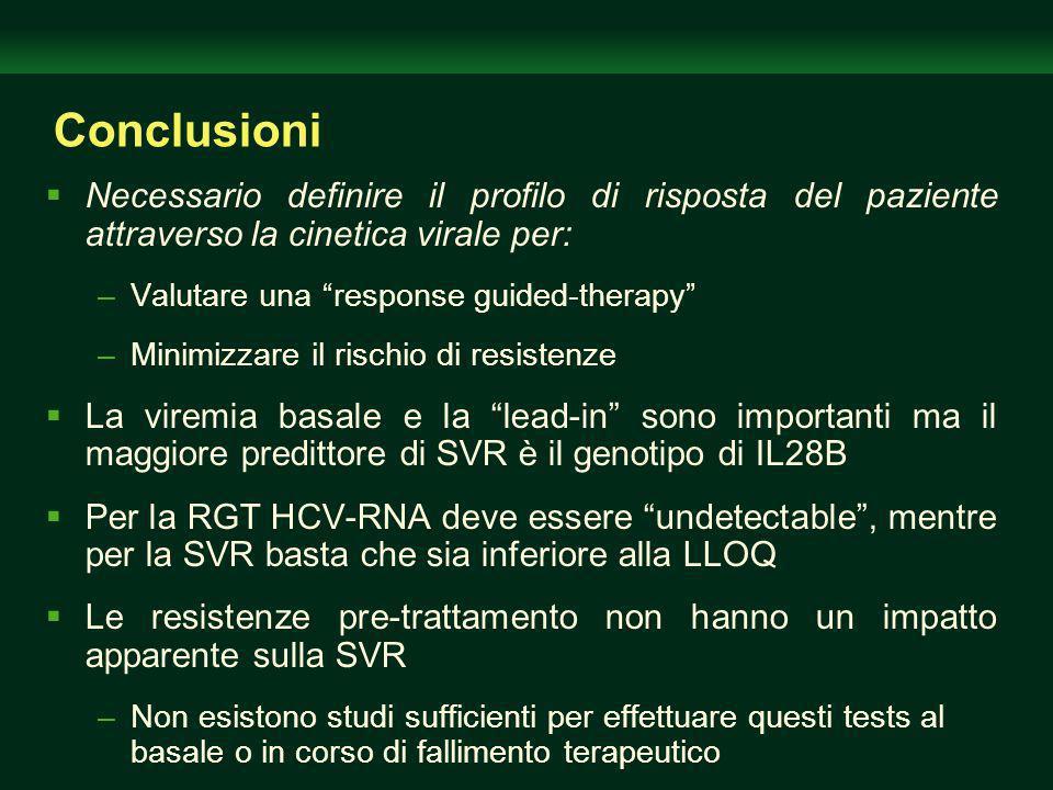 Conclusioni Necessario definire il profilo di risposta del paziente attraverso la cinetica virale per: –Valutare una response guided-therapy –Minimizzare il rischio di resistenze La viremia basale e la lead-in sono importanti ma il maggiore predittore di SVR è il genotipo di IL28B Per la RGT HCV-RNA deve essere undetectable, mentre per la SVR basta che sia inferiore alla LLOQ Le resistenze pre-trattamento non hanno un impatto apparente sulla SVR –Non esistono studi sufficienti per effettuare questi tests al basale o in corso di fallimento terapeutico