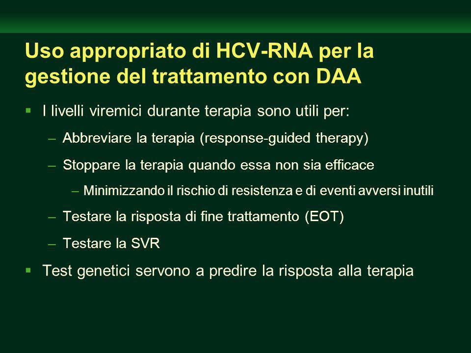 Uso appropriato di HCV-RNA per la gestione del trattamento con DAA I livelli viremici durante terapia sono utili per: –Abbreviare la terapia (response-guided therapy) –Stoppare la terapia quando essa non sia efficace –Minimizzando il rischio di resistenza e di eventi avversi inutili –Testare la risposta di fine trattamento (EOT) –Testare la SVR Test genetici servono a predire la risposta alla terapia
