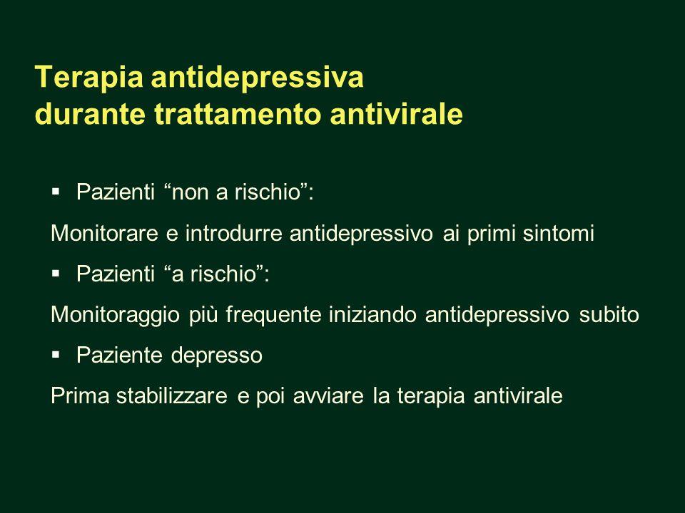 Terapia antidepressiva durante trattamento antivirale Pazienti non a rischio: Monitorare e introdurre antidepressivo ai primi sintomi Pazienti a risch