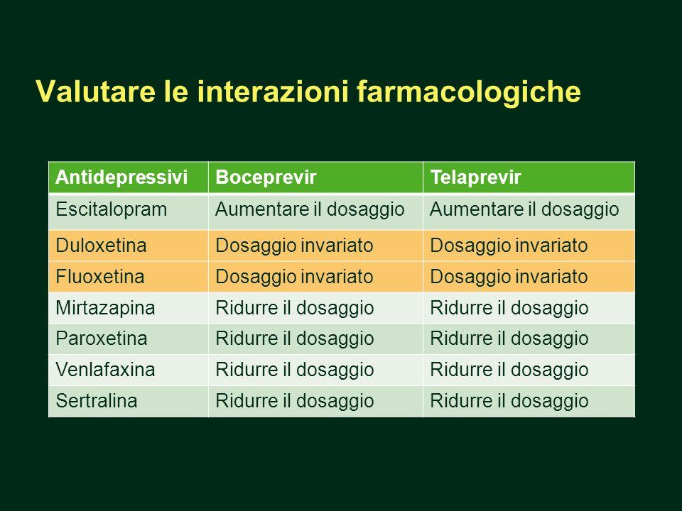 AntidepressiviBoceprevirTelaprevir EscitalopramAumentare il dosaggio DuloxetinaDosaggio invariato FluoxetinaDosaggio invariato MirtazapinaRidurre il d