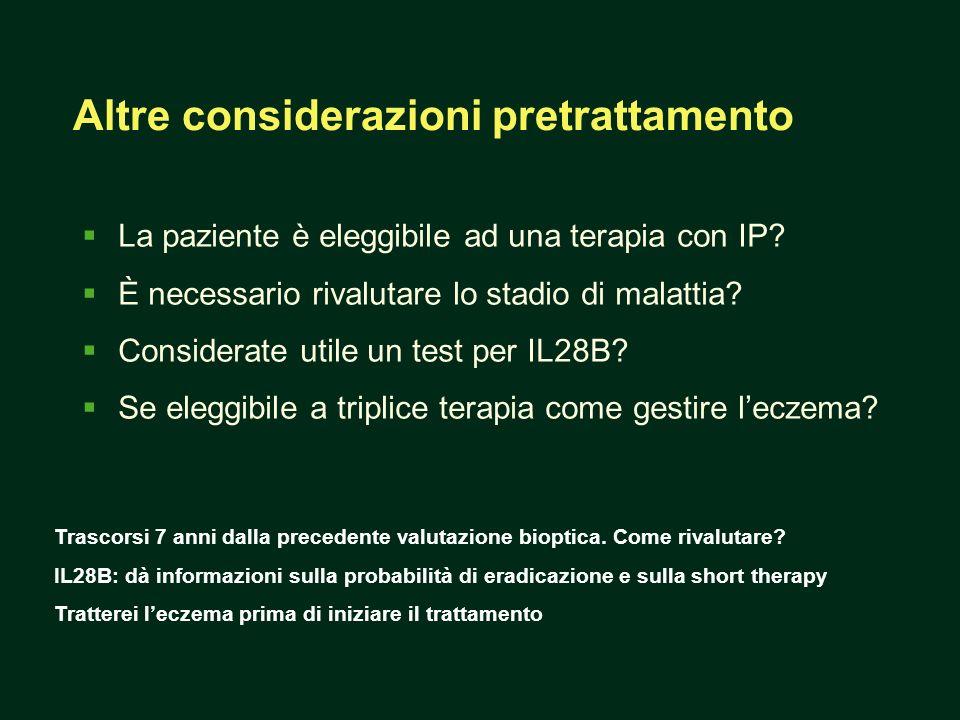 La paziente è eleggibile ad una terapia con IP? È necessario rivalutare lo stadio di malattia? Considerate utile un test per IL28B? Se eleggibile a tr