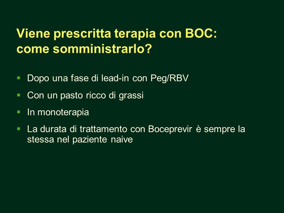Dopo una fase di lead-in con Peg/RBV Con un pasto ricco di grassi In monoterapia La durata di trattamento con Boceprevir è sempre la stessa nel paziente naive Viene prescritta terapia con BOC: come somministrarlo?