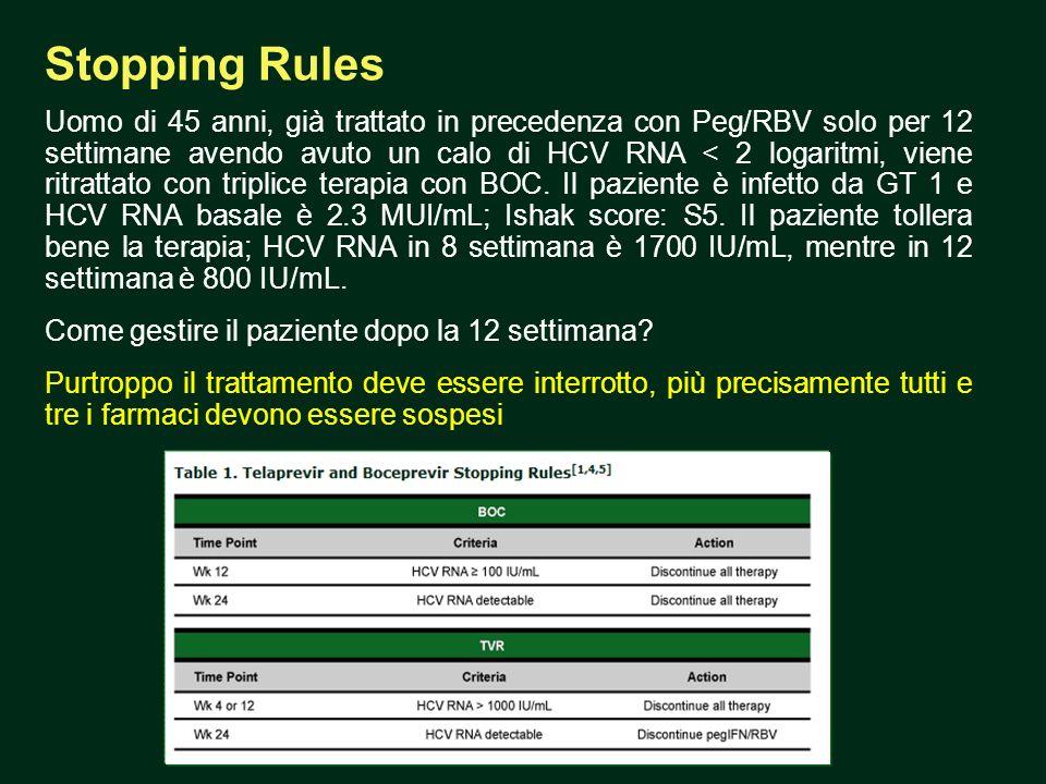 Stopping Rules Uomo di 45 anni, già trattato in precedenza con Peg/RBV solo per 12 settimane avendo avuto un calo di HCV RNA < 2 logaritmi, viene ritrattato con triplice terapia con BOC.