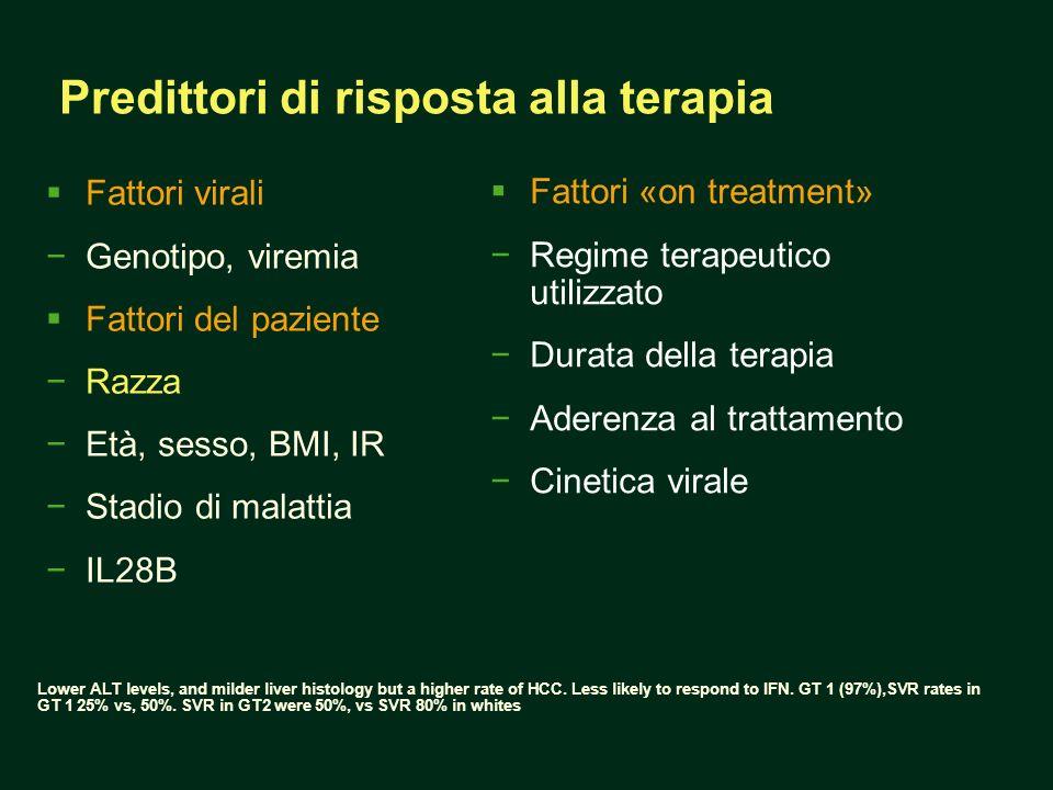 Predittori di risposta alla terapia Fattori virali Genotipo, viremia Fattori del paziente Razza Età, sesso, BMI, IR Stadio di malattia IL28B Fattori «