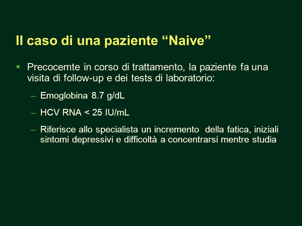 Il caso di una paziente Naive Precocemte in corso di trattamento, la paziente fa una visita di follow-up e dei tests di laboratorio: –Emoglobina 8.7 g