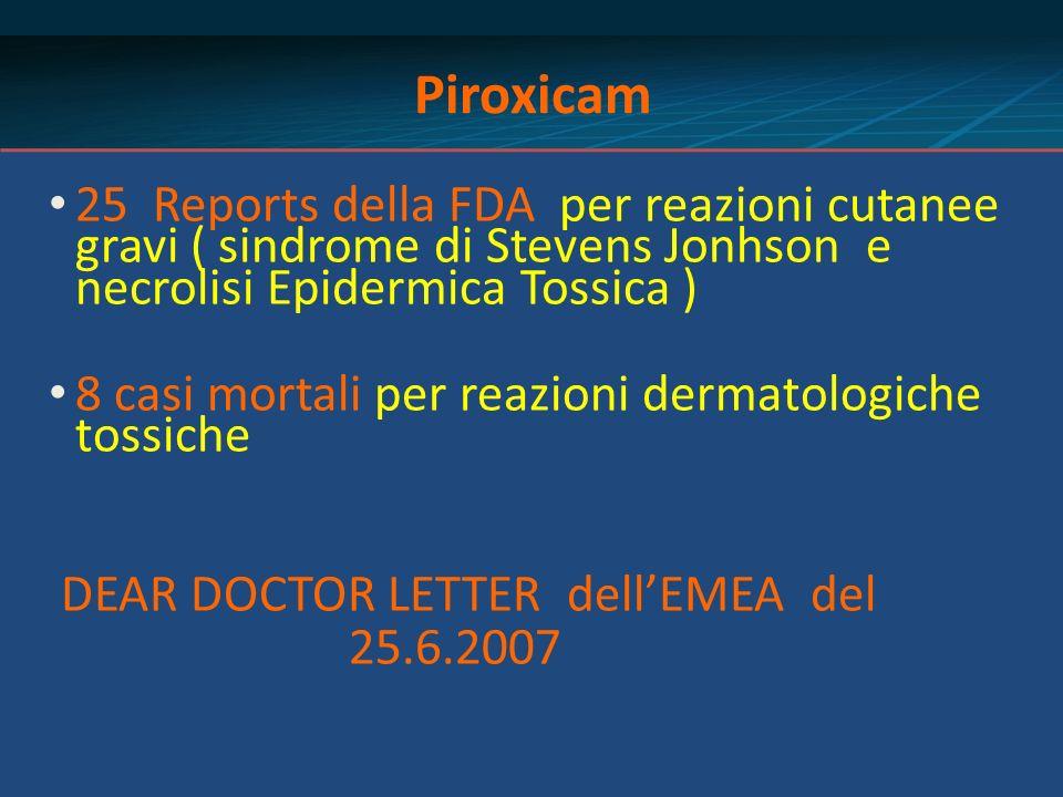 Piroxicam 25 Reports della FDA per reazioni cutanee gravi ( sindrome di Stevens Jonhson e necrolisi Epidermica Tossica ) 8 casi mortali per reazioni d