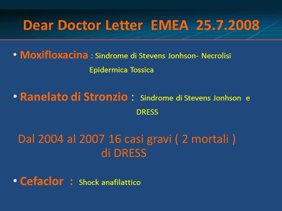 Dear Doctor Letter EMEA 25.7.2008 Moxifloxacina : Sindrome di Stevens Jonhson- Necrolisi Epidermica Tossica Ranelato di Stronzio : Sindrome di Stevens
